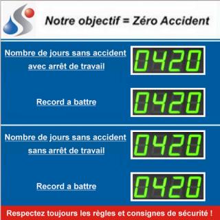 Afficheur Jours Sans Accident Avec ou Sans Arret Et Record - ADEL Instrumentation