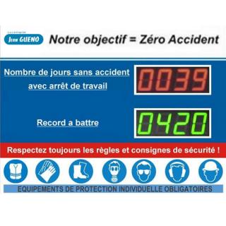 Afficheur Jours Sans Accident Record Et EPI - ADEL Instrumentation